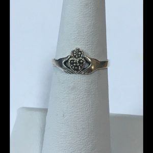Sterling Silver Claddagh with Marcasite Heart